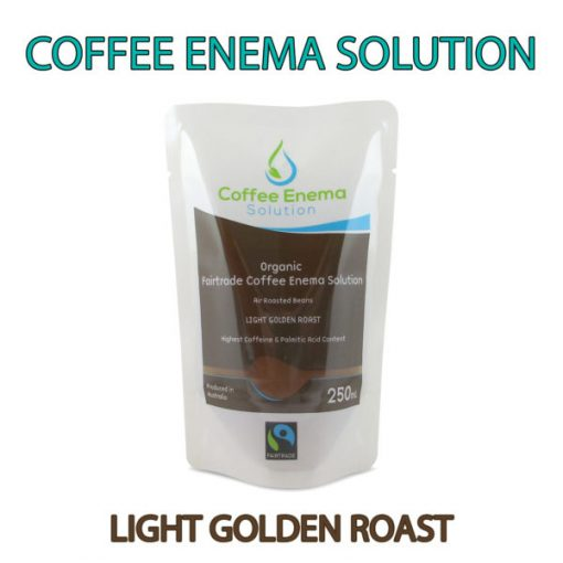 Organic Fairtrade Coffee Enema Solution - Light Golden Roast Pouch - 1 Front pouch with Banner - James Health 1000 Plus