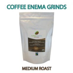 Organic Fairtrade Coffee Enema Grinds Medium Roast 400g Front pack label