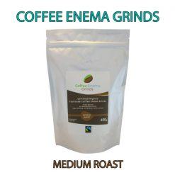 Organic Fairtrade Coffee Enema Grinds Medium Roast 400g Front pack label