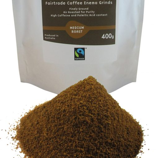 Organic Fairtrade Coffee Enema Grinds Medium Roast 400g Front pack view with Grinds close up - Australia - James Health 1000 Plus