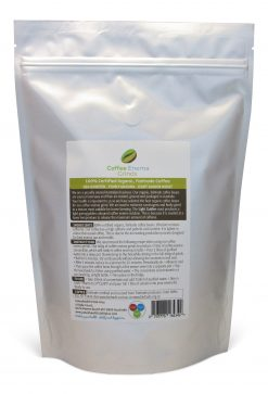 Organic Fairtrade Coffee Enema Grinds Light Golden Roast 400g back of pack - Australia - James Health 1000 Plus