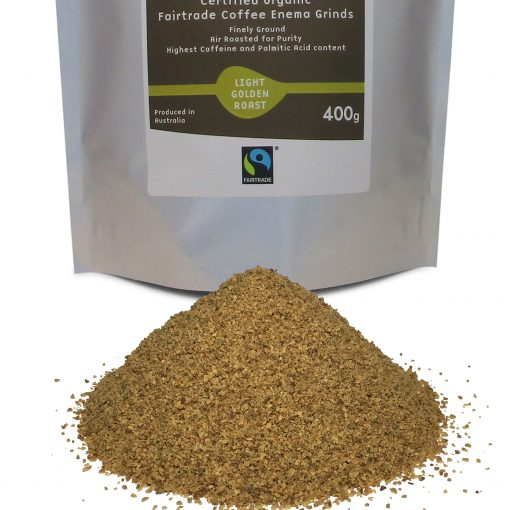 Organic Fairtrade Coffee Enema Grinds Light Golden Roast 400g Front of pack with view of grinds close up - Australia - James Health 1000 Plus