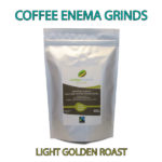 Organic Fairtrade Coffee Enema Grinds Light Golden Roast 400g Front of pack with banner - Australia - James Health 1000 Plus