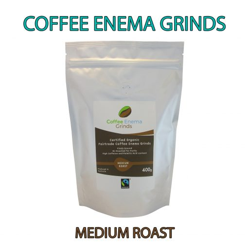 Organic Fairtrade Coffee Enema Grinds Medium Roast 400g Front pack view - Australia - James Health 1000 Plus - Banner