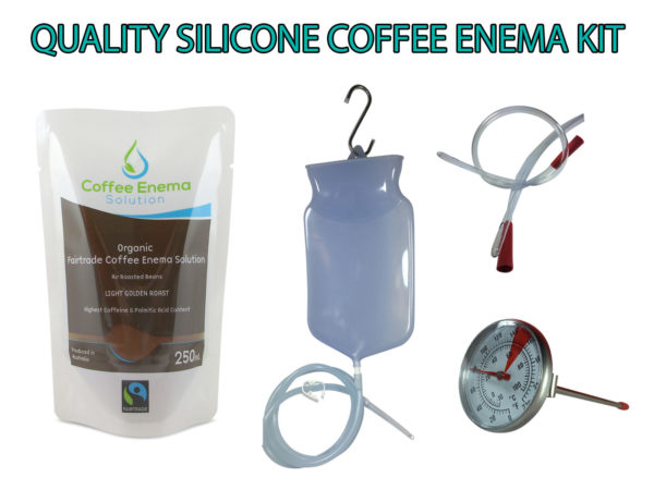 Quality Silicone Coffee Enema Kit with Solution - 1.3m silicone tube, rectal tube, temperature gauge, 3 x Medium Roast Solution and 3 x Light Golden Roast Solution - Australia - James Health 1000 Plus