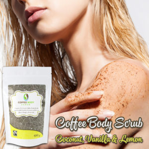 Organic Fairtrade Coffee Body Scrub - Lemon, Coconut, Vanilla Girl in shower - James Health 1000 plus