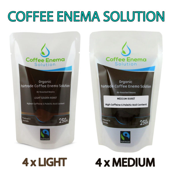Coffee Enema Solution 4 x Light Golden Roast - 4 x Medium Roast - James Health 1000 Plus
