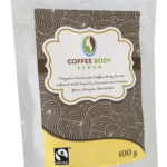 Organic Fairtrade Coffee Body Scrub Coconut Vanilla and Lemon 100g with water