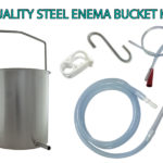 Quality Stainless Steel Water and Coffee Enema Bucket Kit - with silicone tube, extra rectal tube, s hook and flow clamp - Plus instructions - James Health 1000 Plus