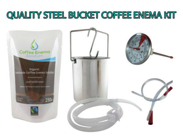 Quality Stainless Steel Water and Coffee Solution Enema Bucket Kit - with silicone tube, extra rectal tube, s hook and flow clamp, 3 x medium roast & 3 x Light golden roast coffee enema solution - Plus instructions - James Health 1000 Plus