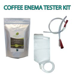 Coffee Enema Tester Kit comes with 400g x Medium Roast or 400g x Light Golden Roast Coffee enema Grinds - rectal tube and disposable enema bag kit. Plus instructions - James Health 1000 Plus