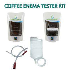 Coffee Enema Tester Kit comes with 3 x Medium Roast and 3 x Light Golden Roast Coffee enema solution - rectal tube and disposable enema bag kit. James Health 1000 Plus