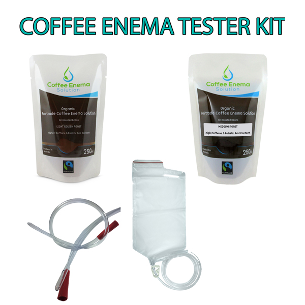Coffee Enema Tester Kit comes with 3 x Medium Roast and 3 x Light Golden Roast Coffee enema solution - rectal tube and disposable enema bag kit. James Health 1000 Plus