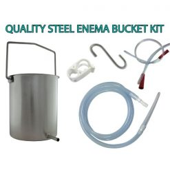 Stainless Steel Enema Bucket with 1.3 mitre silicone tube and long flexible rectal tube plus water flow clip