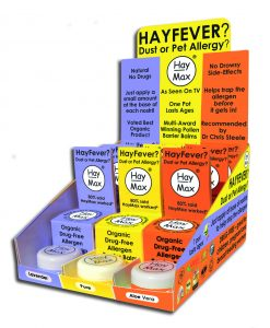 HayMax Counter Display unit Aloe Vera Lavender Pure Organic Drug Free Hayfever Allergen Barrier Balm - James Health 1000 Plus