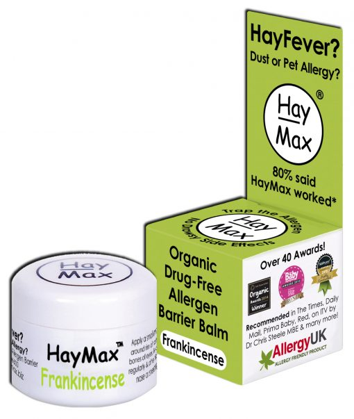 HayMax Organic Drug Free Hayfever Dust and Pet Allergen Barrier Balm Frankincense - Australia - James Health 1000 Plus