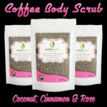 Organic Fairtrade Coffee Body Scrub Coconut Cinnamon and Rose Neon