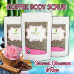 Organic Fairtrade coffee body scrub water Coconut Cinnamon Rose