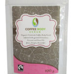 Organic Fairtrade Coffee Body Scrub coconut cinnamon & Rose front label