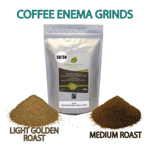 James Health 1000 Plus Organic fairtrade Coffee Enema Grinds 50 50 Medium and Light Golden Roast Blend shown together in front of their packet